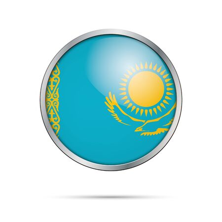 reflect: Vector Kazakhian flag button. Kazakhstan flag glass button style with metal frame. Illustration