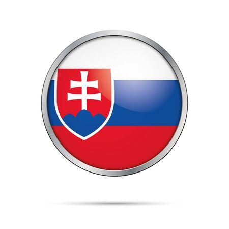 white flag: Vector Slovakian flag button. Slovakia flag glass button style with metal frame.