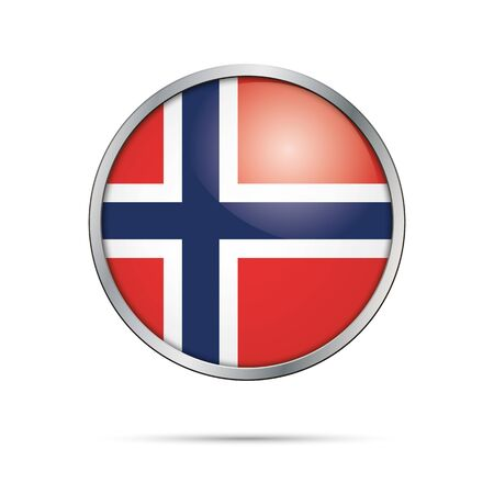 metal frame: Vector Norwegian flag button. Norway flag glass button style with metal frame. Illustration