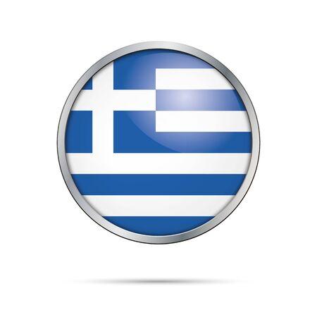 cross bar: Vector Greek flag button. Greece flag glass button style with metal frame.