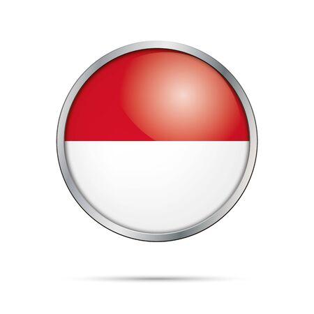 monegasque: Vector Monegasque flag button. Monaco flag glass button style with metal frame. Illustration