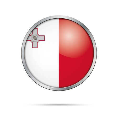 Vector Maltese flag button. Malta flag glass button style with metal frame.