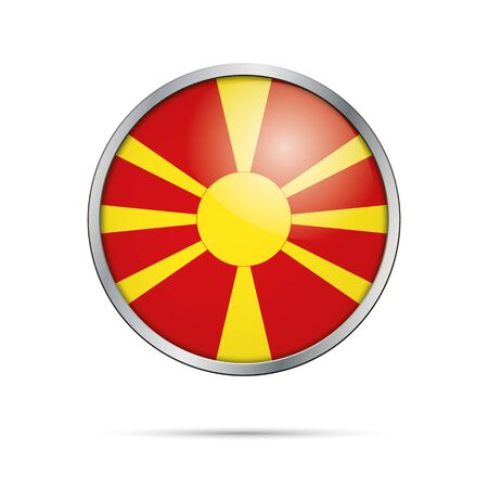 macedonian flag: Vector Macedonian flag button. Republic of Macedonia flag glass button style with metal frame.