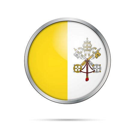 Vatican City State flag glass button style with metal frame vector.