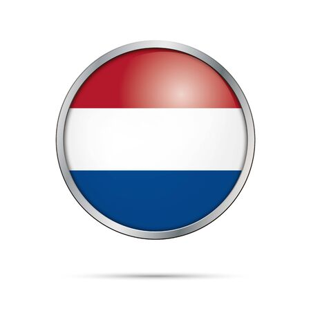 dutch flag: Vector Dutch flag button. Netherlands flag glass button style with metal frame.