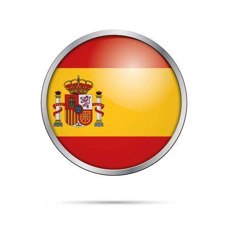 spanish flag: Vector Spanish flag button. Spain flag glass button style with metal frame. Illustration