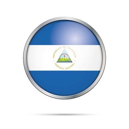 nicaragua: Nicaragua flag glass button style with metal frame.