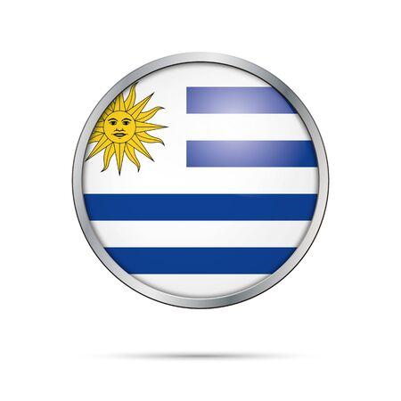 bandera de uruguay: estilo de botón de cristal de la bandera Uruguay con estructura de metal.