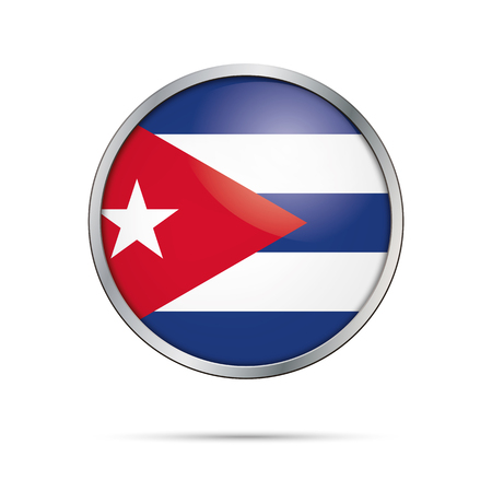 metal button: Cuba flag glass button style with metal frame.