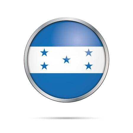 bandera honduras: Honduras flag glass button style with metal frame. Vectores