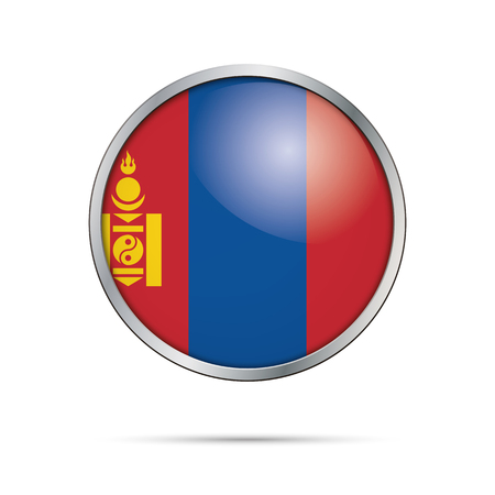 Mongolia flag glass button style with metal frame. Illustration