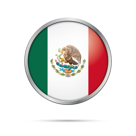 Mexico flag glass button style with metal frame. Illustration