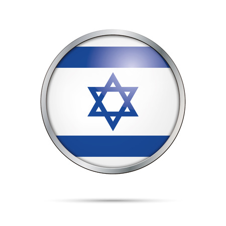 Israel flag glass button style with metal frame.