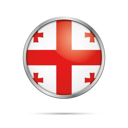 Georgia flag glass button style with metal frame.