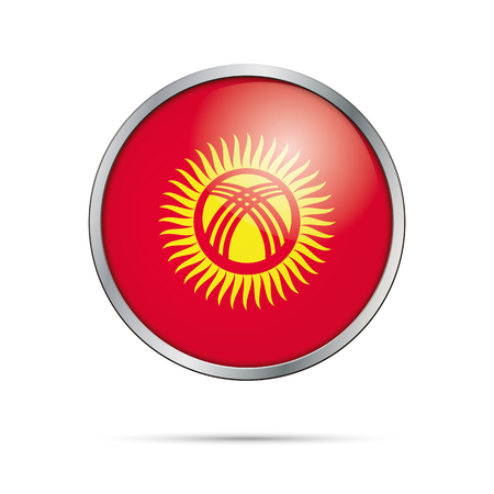 kyrgyzstan: Kyrgyzstan flag glass button style with metal frame.