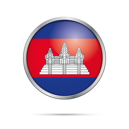 cambodian flag: Cambodia flag glass button style with metal frame.