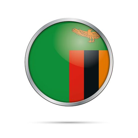 Zambia flag glass button style with metal frame.