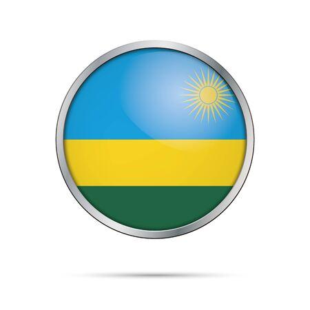 Rwanda flag glass button style with metal frame. Illustration