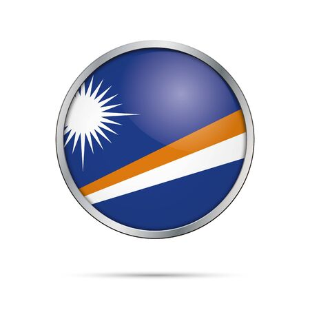 Marshall Islands flag glass button style with metal frame.