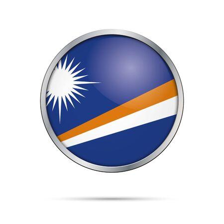Îles Marshall bouton verre drapeau style avec cadre en métal.