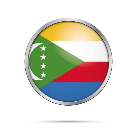 Comoros Islands flag glass button style with metal frame.