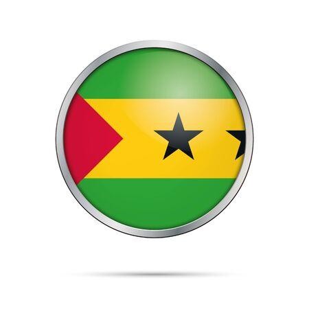 Sao Tome and Principe flag glass button style with metal frame. Illustration