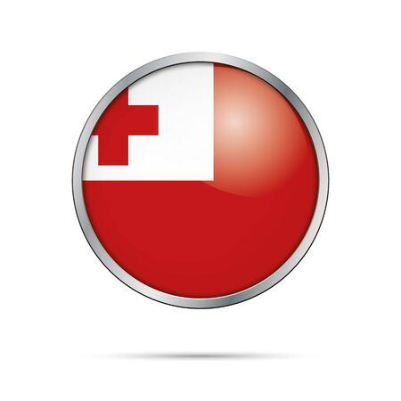 tonga: Tonga flag glass button style with metal frame. Illustration