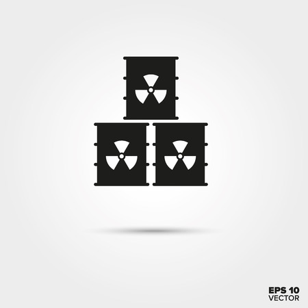 barrels with nuclear waste: Nuclear waste barrels stack Icon. Radioactive materials Symbol. EPS 10 Vector.