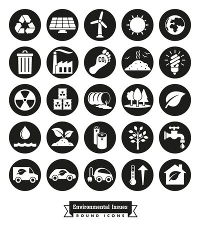 Collection of Environment and Climate related round vector icons