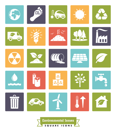 Collection of Environment and Climate related square color vector icons Illustration
