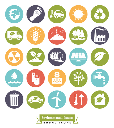 Collection of Environment and Climate related round color vector icons