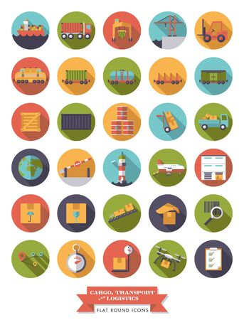 Collection of flat design long shadow cargo, transport and logistics round icons Illustration