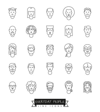 latin american girls: Collection of 25 everyday people avatar line icons Illustration