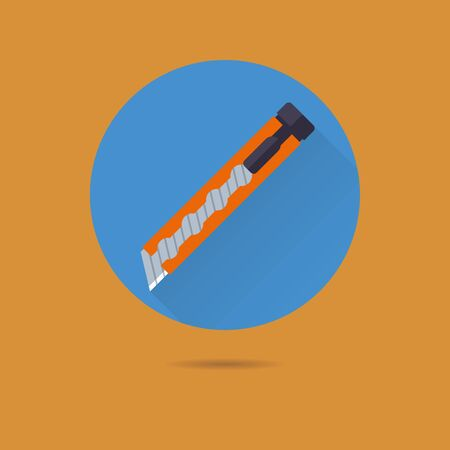 cutter: box cutter paper knife flat design long shadow vector icon