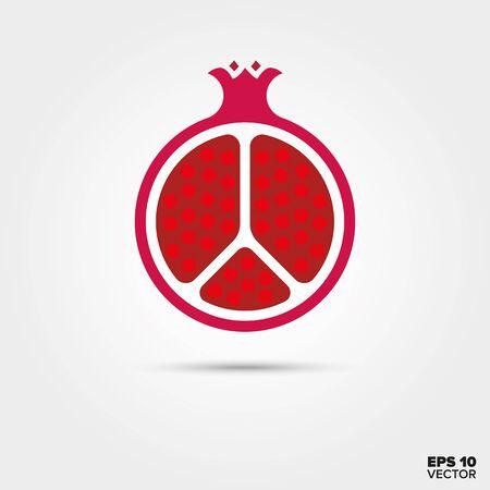 half pomegranate fruit vector icon Illustration