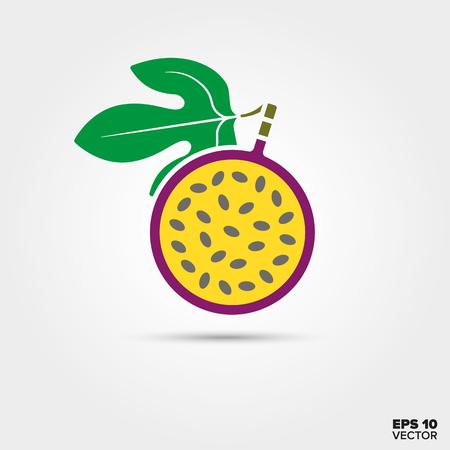 Lila Maracuia Passionsfrucht mit Blatt Vektor-Symbol