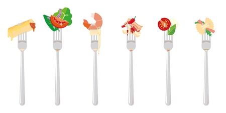 flat design vector illustration of various italian dishes portions on forks