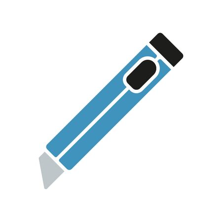 box cutter knife tool icon Illustration