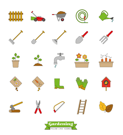 ladder  fence: Collection of vector gardening line icons with color fill