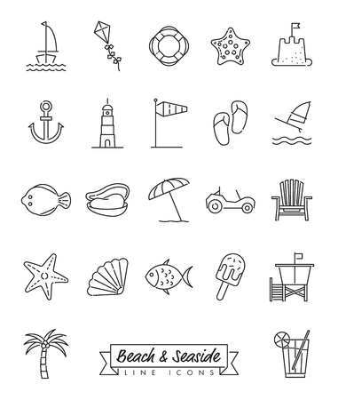 Collection of 22 beach and seaside related line icons