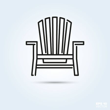 Deck chair Line Icon Vector