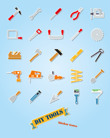 Collection of 25 do it yourself tools sticker vector icons