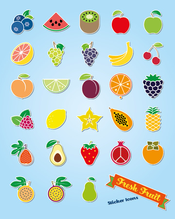 Colección de 25 iconos frescos vector de pegatina de fruta