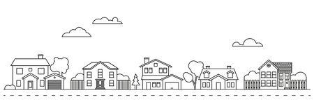 Village neighborhood line art vector Stock Illustratie