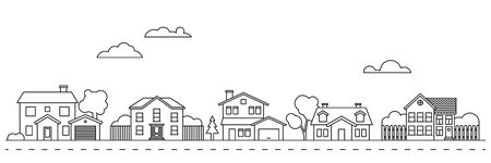 Village neighborhood line art vector 向量圖像