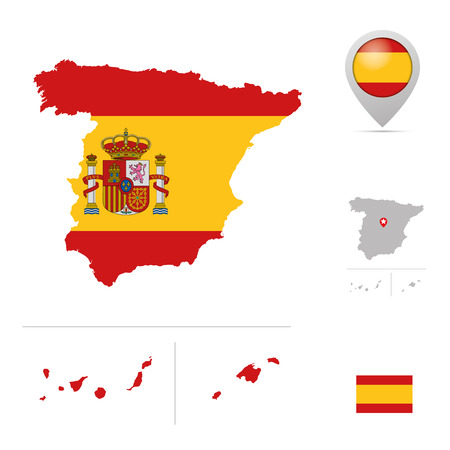 mainland: Spain map in national flag colors, flag,  marker and location of capital. Illustration