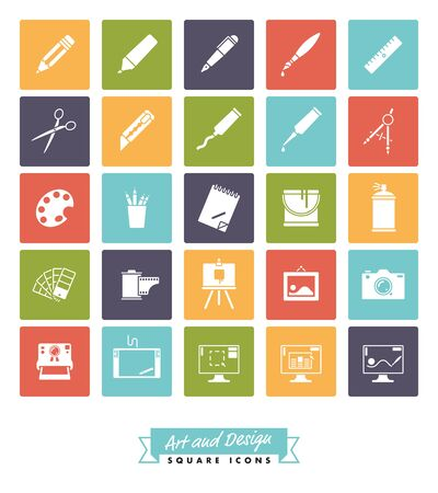 paint can: Collection of 25 square art and design related vector icons in five colors Illustration