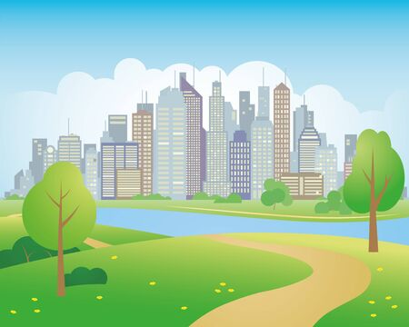 Vector illustration of park in the city, skyscrapers in background
