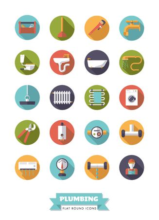 Collection of plumbing and sanitary facilities flat design long shadow icons in circles