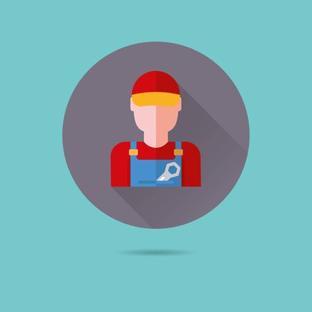 plumber flat design long shadow vector icon